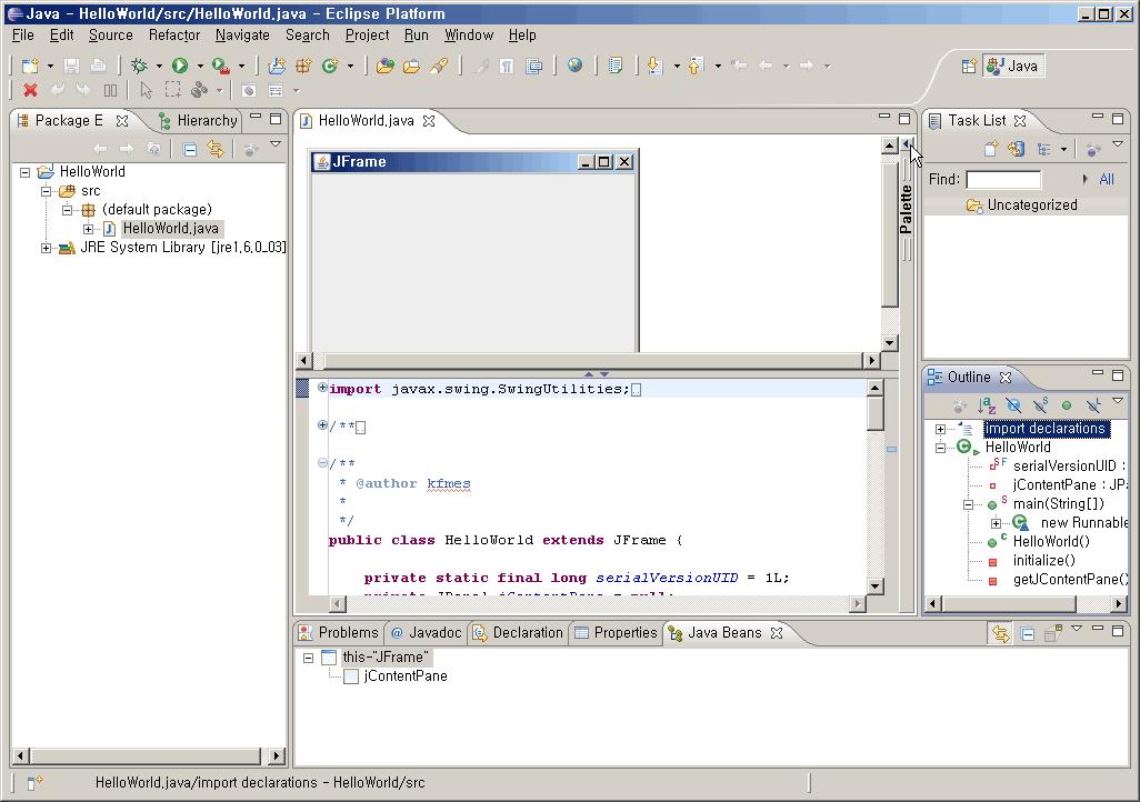 Visual Editor 가 적용된 Eclipse